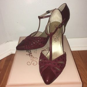 Seychelles Portrait Oxblood Leather T-strap heels
